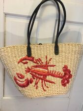 1B. J.Crew Embroidered LOBSTER Straw Tote Bag Purse Nautical Beach  Fish