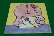 New listing Cats & Dogs & People Too - Debby Carman - Cup Of Joy - Cat Trivet Wall Art