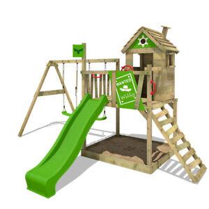 FATMOOSE RockyRanch Roll XXL Wooden ClimbingFrame Treehouse DoubleSwingSet Slide