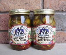 Amish Wedding Foods Zesty Bread & Butter Pickles TWO  15 oz Glass Jars