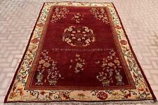 7x10ft Vintage Turkish Handwoven Oushak Carpet Red Color Medallion Floral Design