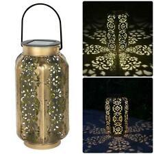 Outdoor Solar LED Hanging Light Retro Hollow Lantern Yard Garden Lamp Decor