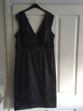 Ladies short Evening DRESS size 14   NEXT Charcoal Grey  plunge neckline  silky