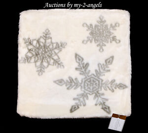 NWT Pottery Barn Faux Fur SNOWFLAKE Jacquard Pillow Cover * White Christmas