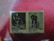 Lot of 2 Rare 1951 Hockey Strip Card Leo Reise Billy Reay