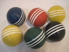 6 OLD VINTAGE WOOD CROQUET BALLS RIBBED 2 YELLOW BLACK BLUE GREEN RED