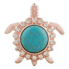 Turtle Rose Gold Turquoise & white Rhinestone Snap Fits Ginger Snap KC9783