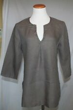 Eileen Fisher Linen Tunic Small Mocha Brown Sequin V Neck 3/4 Sleeve