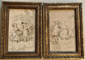 2 - Small Antique French Illustration Prints by Léon Benet 1839-1918