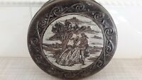 Vintage Embossed Romantic Scene Tin Biscuit Cookie Round Pre-owned
