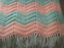 Crochet afghan baby peach and green chevron