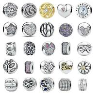 European 925 Silver Clip Clasp Silver Charms Bead Fits Sterling Bracelet Chain