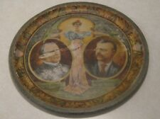 """1900 Theodore Roosevelt & William McKinley Metal 12"""" Political Tray Chas W Shonk"""