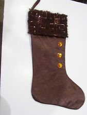BROWN QUILTED SEQUINS JEWELS LINED CHRISTMAS STOCKING MANTLE HOLIDAY DECORATION