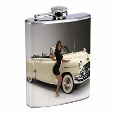 Vintage Car Flask D1 8oz Stainless Steel Old Automobile Stylish Classic Antique