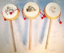 6 CHINESE WOODEN DRUMS old wood rattle drum oriental traditional sound toy NEW
