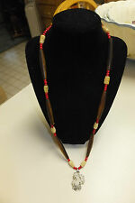 Wood Beads, Carved Bone Faces, Red Beads, Metal Grape Pendant, Necklace