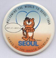 Original PIN / badge    Olympic Games SEOUL 1988 - HODORI , the mascot  !!  RARE