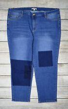 Woman Within Plus Ankle Slim Leg Jeans Pants Patch Mid Rise Medium Wash Blue 22W