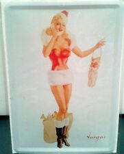 Blechschild Post Karten Format Pin Up Girl als sexy Santa Claus Vintage Deko
