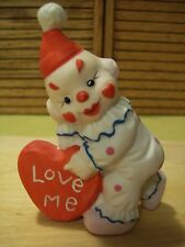 """VINTAGE CERAMIC Clown with Hearts Figurine approx. 3.5"""" tall"""