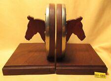 Vintage Handmade GOOD LUCK HORSE SHOE w/ Nails Bookends Walnut Base MAKE OFFER