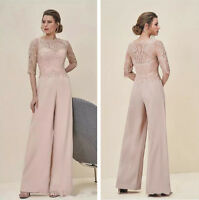 Long Mother Of The Bride Pant Suits Half Sleeve Jumpsuit Lace Chiffon Custom New