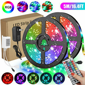 16.4ft 300LED Flexible SMD Strip Light RGB Remote Fairy Lights Room TV Party Bar