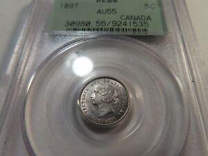 Q13 Canada 1897 5 Cents PCGS AU-55 OGH