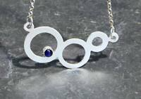 Three Circle Sterling Silver Modern Necklace with a Sapphire Stone