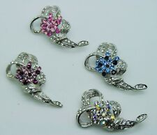 Lot of 4 Chic Flower Bouquet Style Mix Color Crystal Fashion Brooch Pin #272