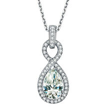 Pear Shape Diamond Womens Pendant 2.60 Carat GIA Certified 18k White Gold