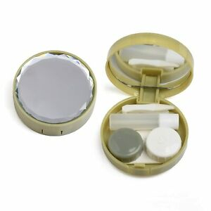Olive Portable Contact Lens case Container Kit with Mirror Tweezer Applicator