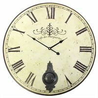 New Large Cafe Des Marguerites Round Wall Clock Pendulum Vintage 58cm Diameter