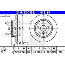 ATE 2x Bremsscheiben Voll beschichtet 24.0112-0188.1