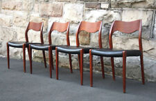 Teak Leather Chairs