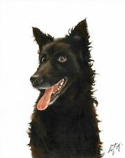 @ Original Oil Portrait Painting Mudi Puppy Black Dog Artist Signed Artwork Art