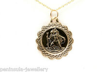 "9ct Gold 16mm St Christopher Pendant and 18"" Chain Gift boxed, made in UK"