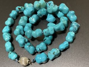 "18"" Carved Chinese Turquoise Knuckle Shape Bead Necklace knotted Sterling Clasp"