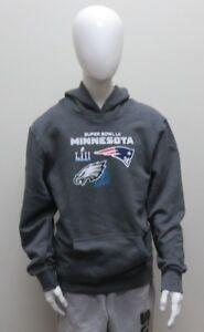 NFL Youth Size SB LII Philadelphia Eagles VS NE Patriots Grey Sweatshirt NWT