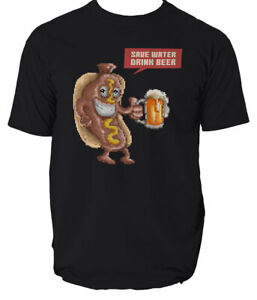 Water T Beer Save Drink Shirt Mens Tee Design Unisex funny gift 8 colours S-3XL