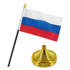 """Russia Russian Flag 4""""x6"""" Desk Set Table Stick Gold Base"""
