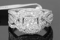 10K WHITE GOLD 1.44 CARAT WOMENS REAL DIAMOND ENGAGEMENT RING WEDDING BANDS SET