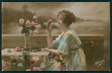 Edwardian romance 1910s original old photo postcard lady love flower smell