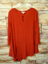 DANA BUCHMAN RED  BLOUSE  TOP Size L J-14
