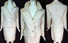 Vintage YSL Saint Laurent Rive Gauche White Matelasse Quilted Suit Jacket Skirt