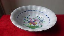 Saladier plat faience Est.Islettes Lunéville Coq.XIXème. Antique ceramic bowl