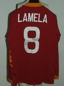 Soccer Jersey Trikot Camiseta Roma Long Sleeve Lamela 8 Signed Size L
