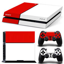 PS4 Playstation 4 Console Skin Decal Sticker White And Red + 2 Controller Skins