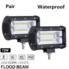 2Pcs 5'' 72W LED Work Light Bar Flood Driving Lamp For Jeep Truck Boat Off-Road